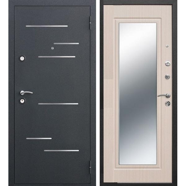 Дверь металлическая входная Версаль Зеркало 3K Беленый дуб 860(960)x2050х90 мм.