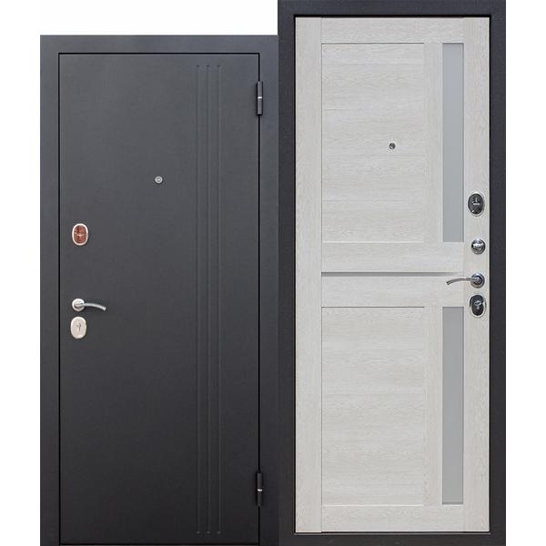 Дверь металлическая входная Нью-Йорк Каштан Перламутр Царга 860(960)x2050х75 мм.