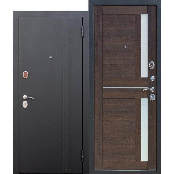 Дверь металлическая входная Нью-Йорк Каштан мускат Царга 860(960)x2050х75 мм.