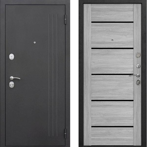 Дверь металлическая входная Нью-Йорк Ривьера пепельная Царга 860(960)x2050х75 мм.