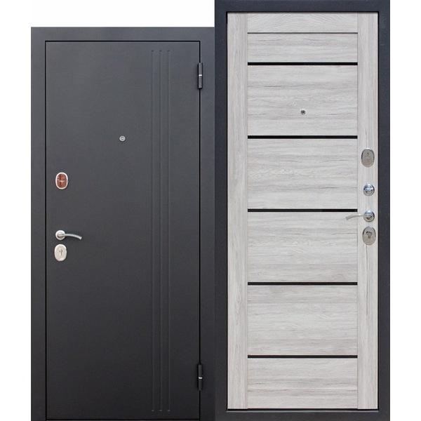 Дверь металлическая входная Нью-Йорк Царга Дуб санремо светлый 860(960)x2050х75 мм.