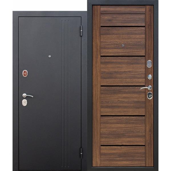 Дверь металлическая входная Нью-Йорк Дуб санремо темный 860(960)x2050х75 мм.