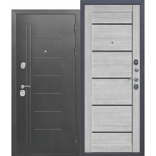 Дверь металлическая входная Троя Серебро Царга Дымчатый дуб 860(960)x2050х100 мм.