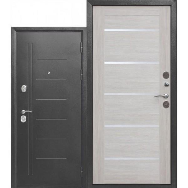 Дверь металлическая входная Троя Серебро Лиственница беж Царга 860(960)x2050х100 мм.