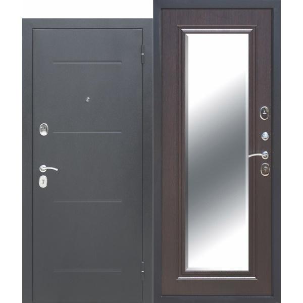Дверь металлическая входная ТРОЯ Серебро MAXI Зеркало Венге 860(960)x2050х100 мм.