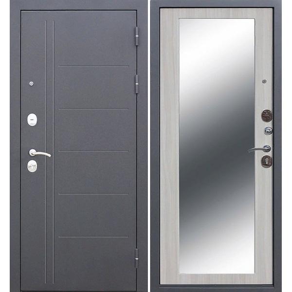 Дверь металлическая входная ТРОЯ Серебро MAXI Зеркало Белый ясень 860(960)x2050х100 мм.