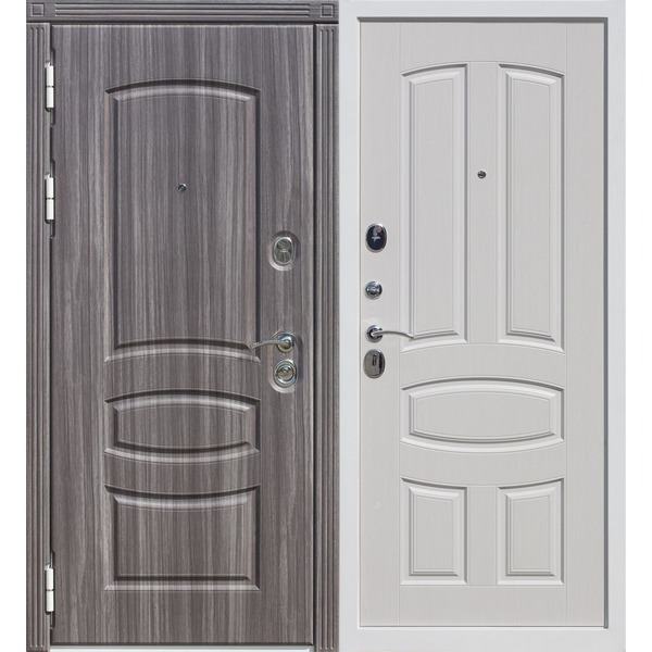 Дверь металлическая входная ГРАНАДА Белый ясень 860(960)x2050х120 мм.