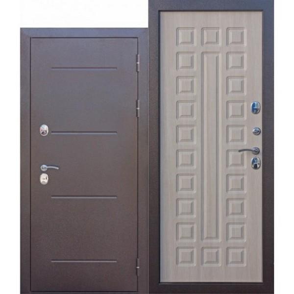 Дверь металлическая входная ISOTERMA Медный антик Лиственница Мокко 860(960)x2050х110 мм.