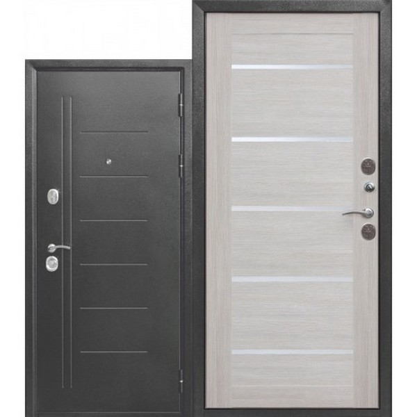 Дверь металлическая входная ISOTERMA Серебро Царга Лиственница Беж 860(960)x2050х110 мм.