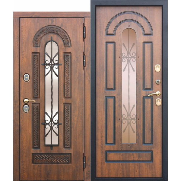 Дверь металлическая входная VITRA Винорит Патина Грецкий орех 860(960)x2050х130 мм.