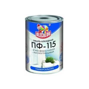 Эмаль ПФ-115 белая д/окон и дверей 0.9 кг OLECOLOR 1/14 1301 ГОСТ 6465-76