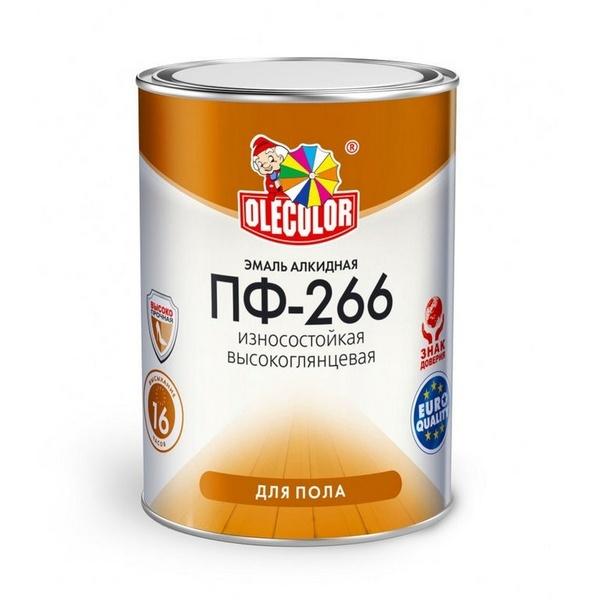 Эмаль ПФ-266 красно-коричневая 5кг OLECOLOR 1/4 2477