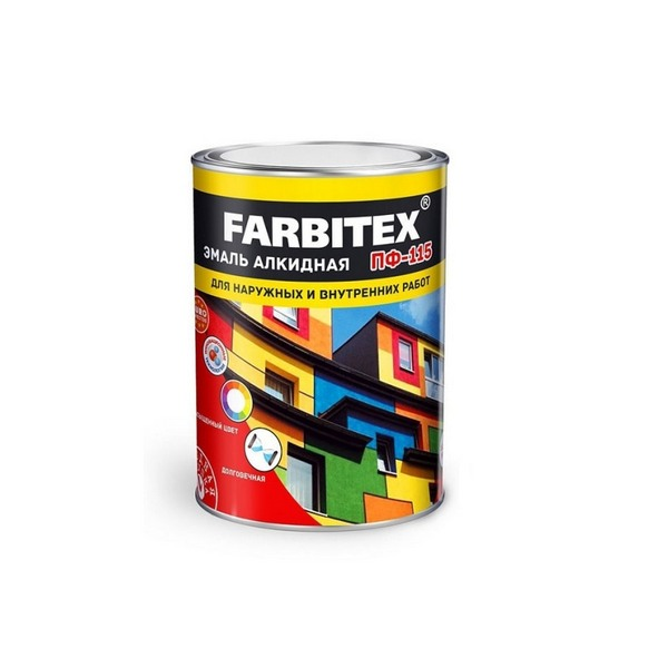 Эмаль ПФ-115 персиковый алкидная 0.8 кг FARBITEX 1/14 436001