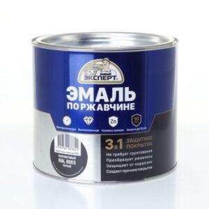 Грунт-эмаль по ржавчине 3 в 1 черная 0.8 кг. Эксперт RAL 9005 1/6