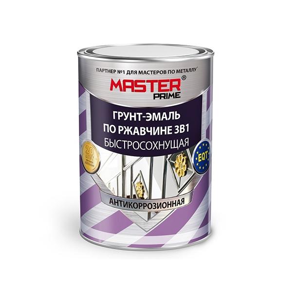 Грунт-эмаль по ржавчине 3 в 1 MASTER PRIME быстросохнущая черный 0.9 кг. 1/14 5203