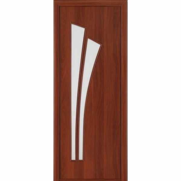 Дверь межкомнатная С-7 Итальянский орех, остекленное, 80 см.