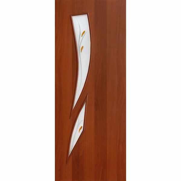 Дверь межкомнатная С-2 Итальянский орех, остекл. фьюзинг, 80 см.