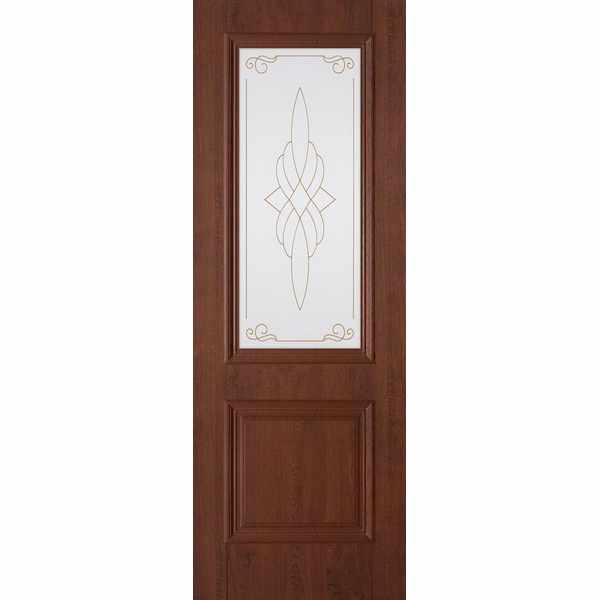 Дверь межкомнатная Дуэт пленка ПВХ Орех темный, остекленное, 70 см.