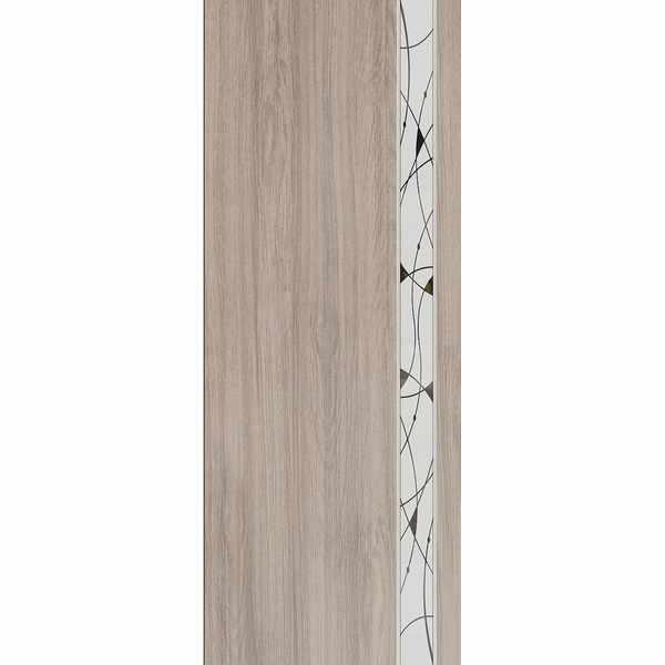 Дверь межкомнатная Luxury 316 Капучино, остекленное - зеркало с элементами художественного матирования, 70 см.