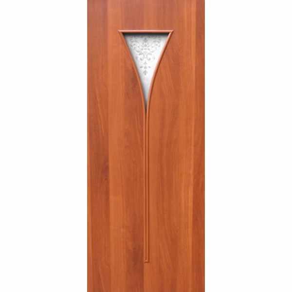 Дверь межкомнатная С-4 Итальянский орех, остекл. художест., 70 см.