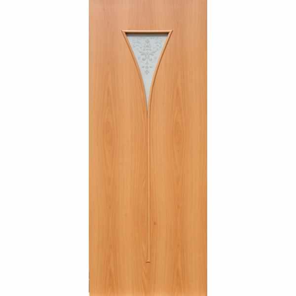 Дверь межкомнатная С-4 Миланский орех, остекл. художест., 60 см.