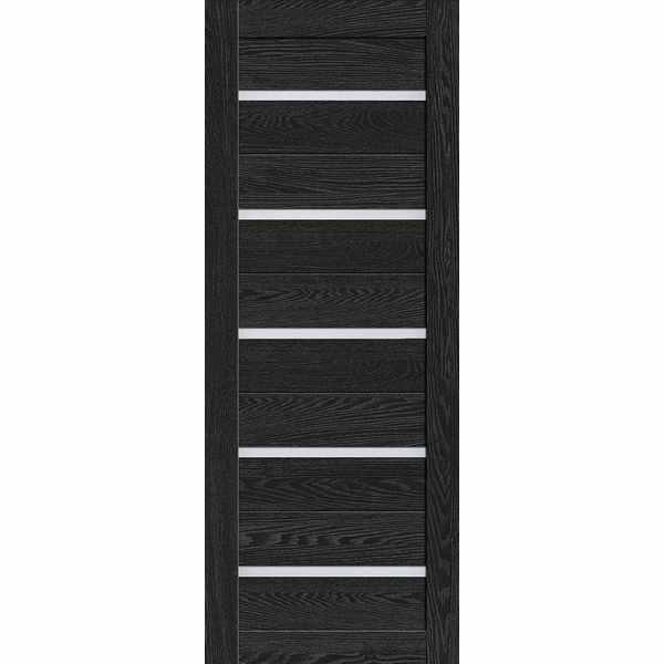Дверь межкомнатная Luxury 502 Антрацит, остекленное - матовое белое, 60 см.