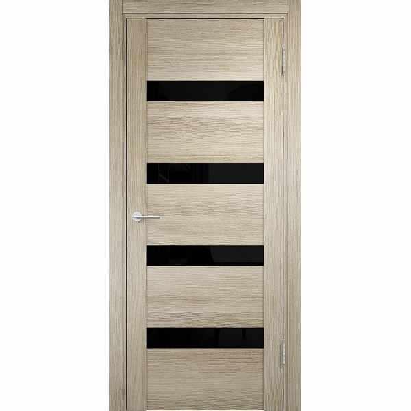 Дверь межкомнатная Мюнхен 03 Дуб дымчатый, остекленное - лакобель черный, 70 см.