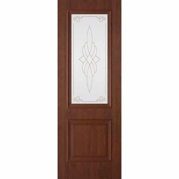 Дверь межкомнатная Дуэт пленка ПВХ Орех темный, остекленное, 60 см.