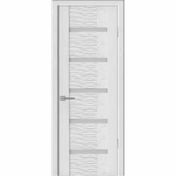 Дверь межкомнатная Агата 05 Бьянки экошпон, остекленное - лакобель белый, 80 см.