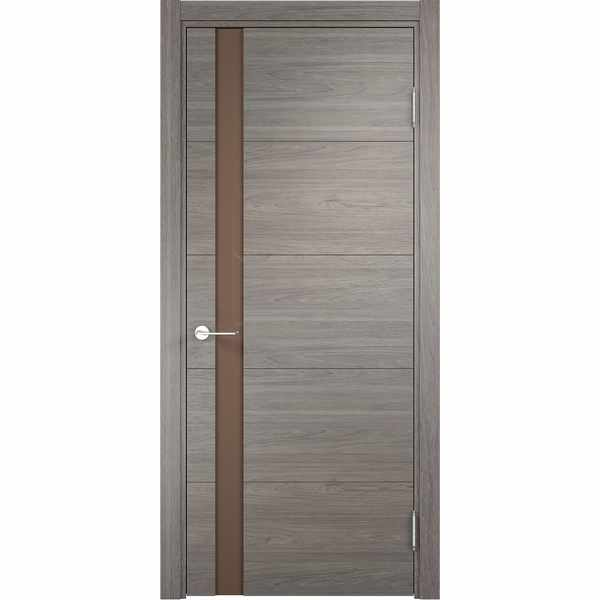Дверь межкомнатная Турин 03 Дуб шервуд вералинга, остекленное - лакобель мокко, 70 см.