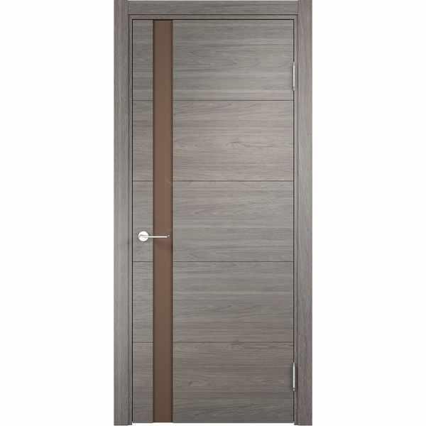 Дверь межкомнатная Турин 03 Дуб шервуд вералинга, остекленное - лакобель мокко, 80 см.