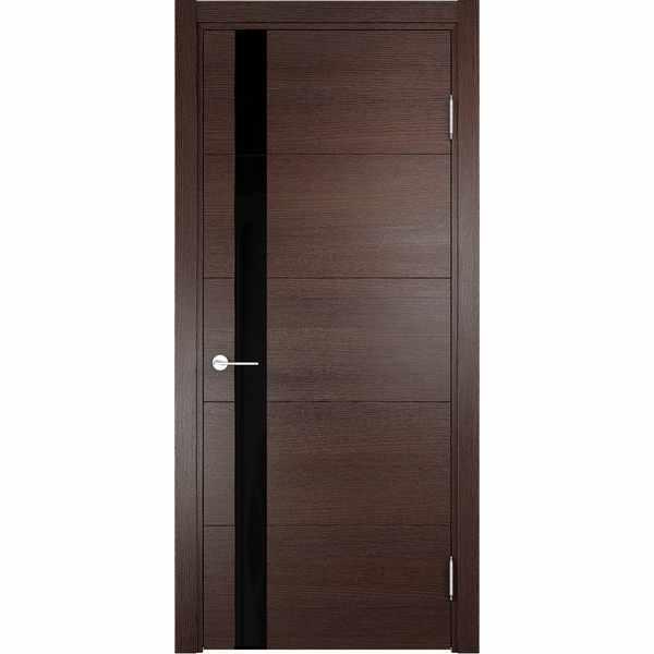 Дверь межкомнатная Турин 03 Дуб графит вералинга, остекленное - лакобель черный, 70 см.