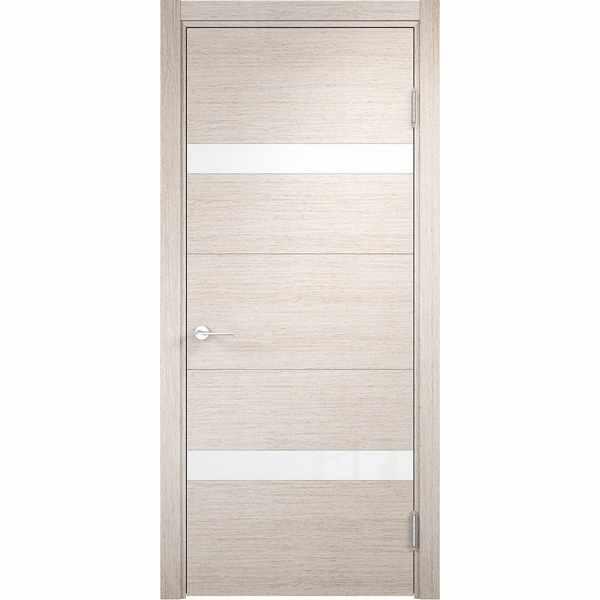 Дверь межкомнатная Турин 05 Дуб бежевый вералинга, остекленное - лакобель белый, 80 см.