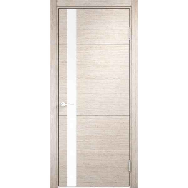 Дверь межкомнатная Турин 03 Дуб бежевый вералинга, остекленное - лакобель белый, 80 см.