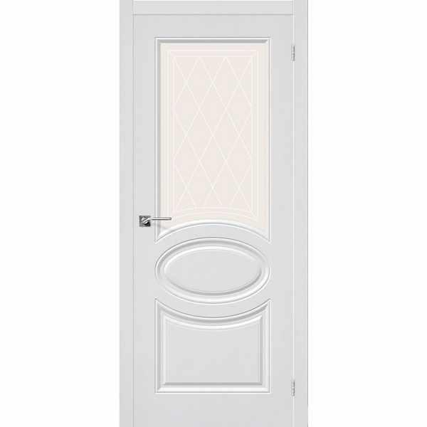 Дверь межкомнатная Скинни-21 пленка ПВХ Белая, остекленное-художественное, 80 см.