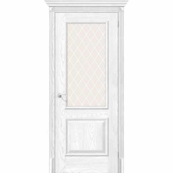 Дверь межкомнатная Классико-13 экошпон Silver Ash, остекленное - сатинато белое художественное White Сrystal, 60 см.