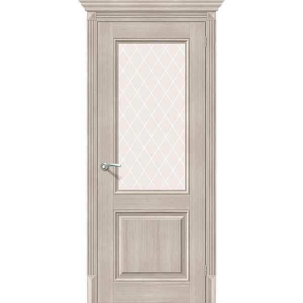 Дверь межкомнатная Классико-33 экошпон Капучино вералинга, остекленное - сатинато белое художественное White Сrystal, 80 см.