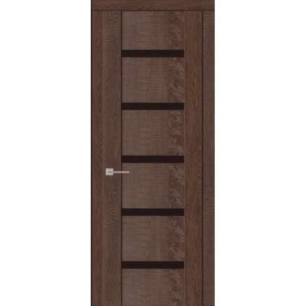 Дверь межкомнатная Агата 05 Коньяк экошпон, остекленное - лакобель черный, 60 см.