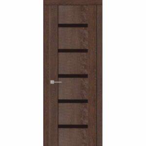 Дверь межкомнатная Агата 05 Коньяк экошпон, остекленное - лакобель черный, 80 см.