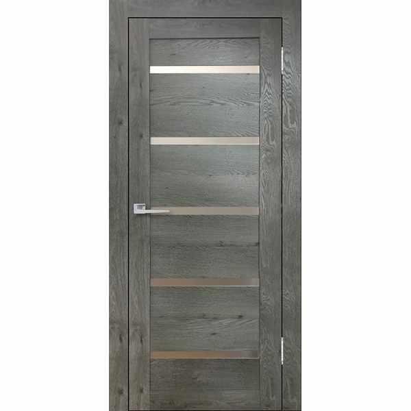Дверь межкомнатная Бавария-15 Дуб эдисон серый, остекленное, 60 см.
