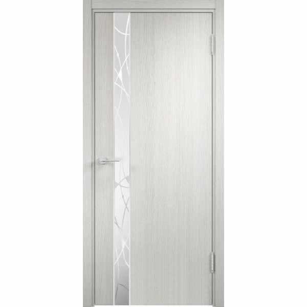 Дверь межкомнатная Соната-04 Слоновая кость, остекленное - зеркало с элементами художественного матирования, 80 см.