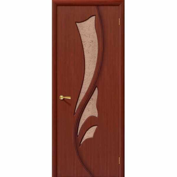 Дверь межкомнатная Эксклюзив шпон макоре, остекленное, 60 см.