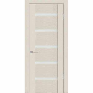 Дверь межкомнатная Агата 05 Бари бежевый экошпон, остекленное - лакобель белый, 60 см.