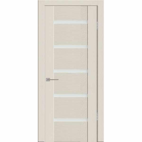 Дверь межкомнатная Агата 05 Бари бежевый экошпон, остекленное - лакобель белый, 70 см.