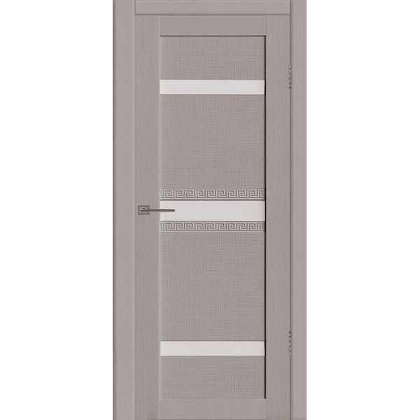Дверь межкомнатная Греция 02 Грей экошпон, остекленное - лакобель белый, 80 см.