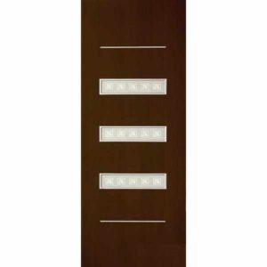 Дверь межкомнатная Трио Венге, остекленное - зеркало с элементами художественного матирования, 70 см.