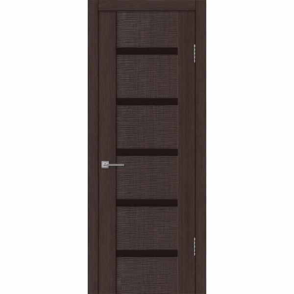 Дверь межкомнатная Бернардо 05 Венге экошпон, остекленное - лакобель черный, 60 см.