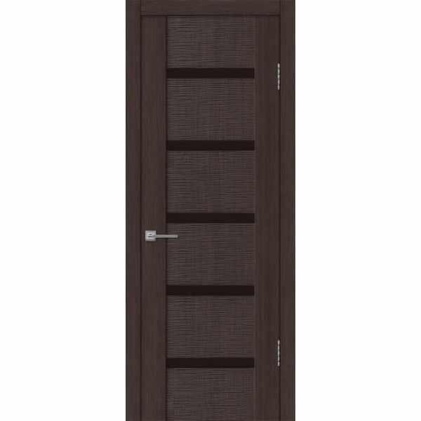 Дверь межкомнатная Бернардо 05 Венге экошпон, остекленное - лакобель черный, 80 см.