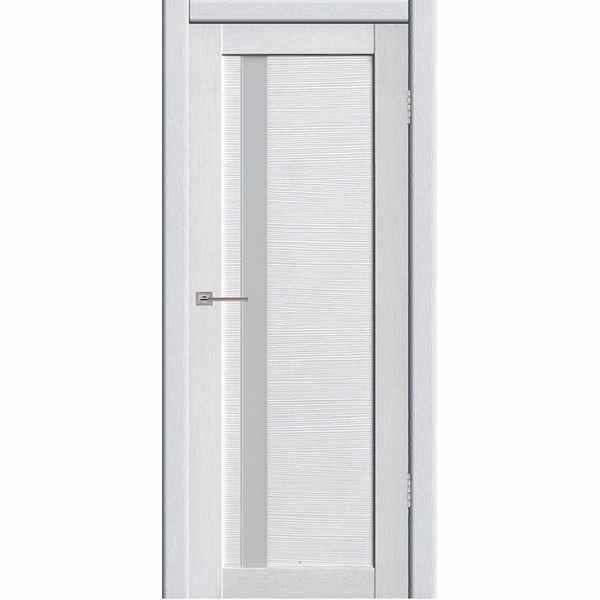 Дверь межкомнатная Астерия 01 Бьянки экошпон, остекленное - лакобель белый, 60 см.