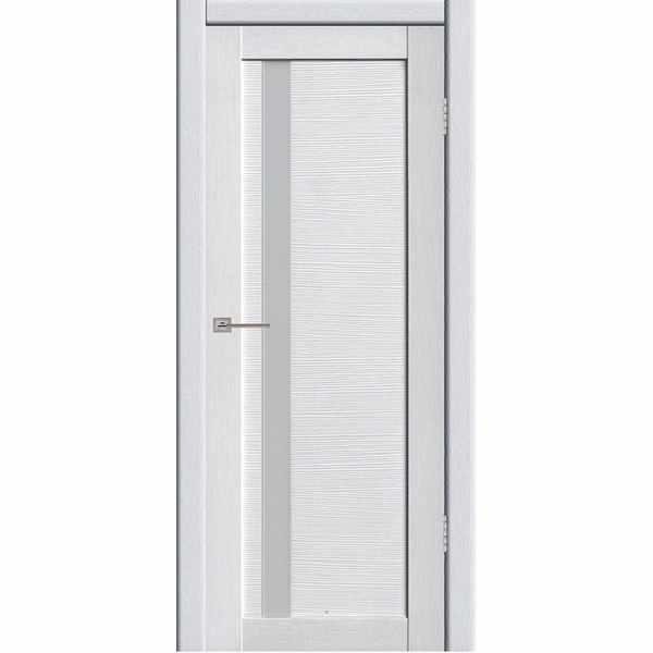 Дверь межкомнатная Астерия 01 Бьянки экошпон, остекленное - лакобель белый, 70 см.